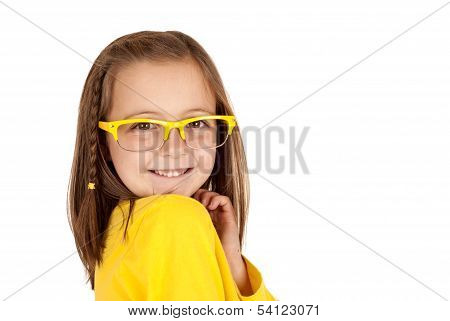 Cute Girl With Yellow Glasses And A Big Smile