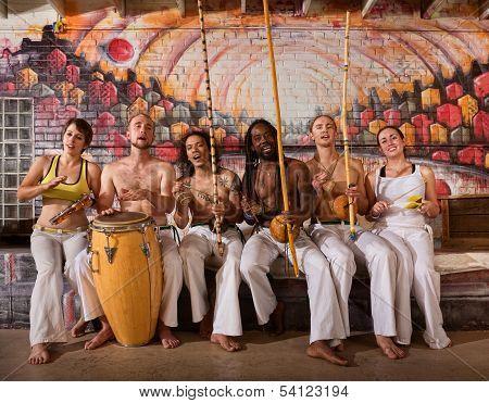 Cheerful Capoeira Team Singing