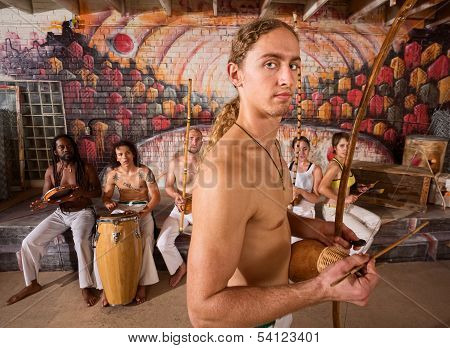 Handsome Capoeira Berimbau Performer