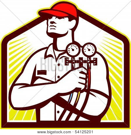 Heating And Cooling Refrigeration Technician Retro