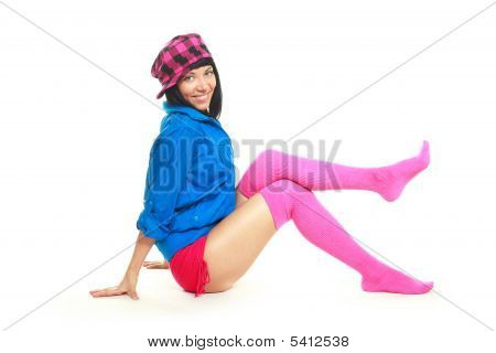 Brunette Girl Wearing Colorful Clothes