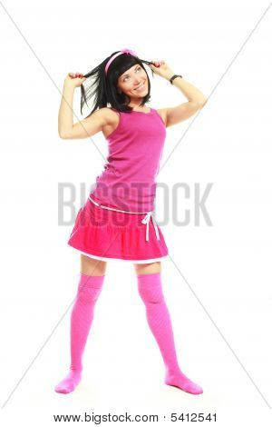 Brunette Girl Wearing Pink Clothes