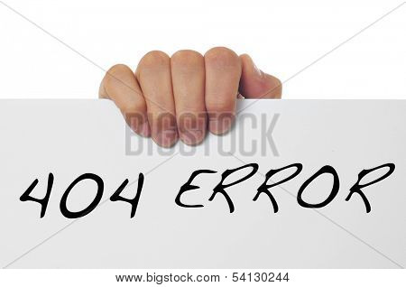 hand holding a signboard with the message 404 error written in it