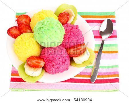 delicious ice cream isolated on white