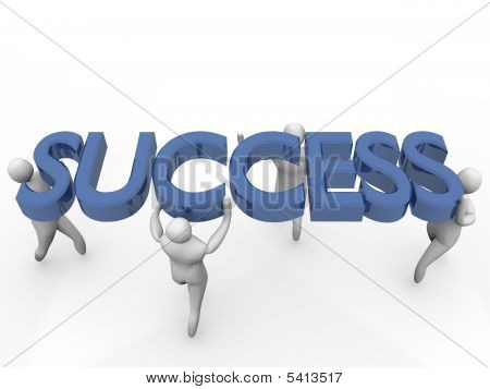 Group Of 3D Men Lifting The Success