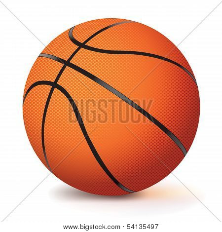 Realistic Vector Basketball Isolated On White