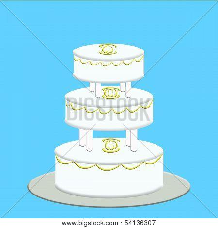 White Three Tier Wedding Cake on Blue