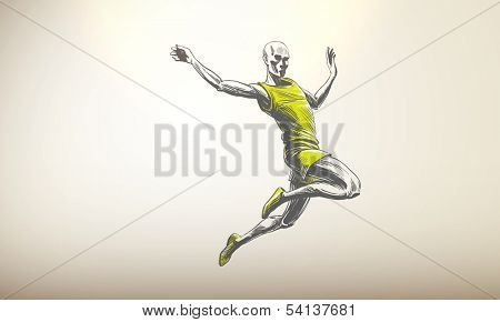 Vector Illustration of Sportsman, Athlete | Long Jump | Decent Copy Space