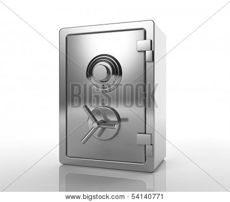 Bank locked safe isolated on white