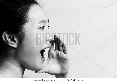 Portrait of woman yelling