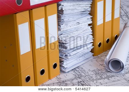 Design drawings and file folders. Bussines  still-life.
