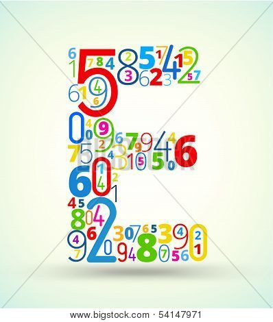 Letter E, colored vector font from numbers