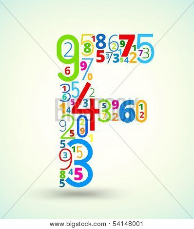 Letter F, colored vector font from numbers