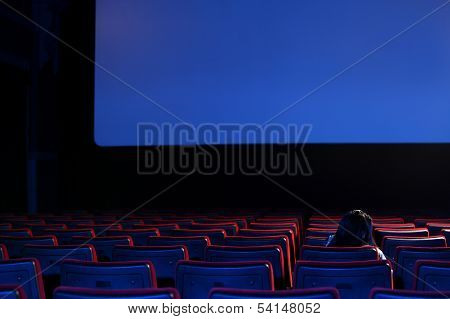 The End: Youn Woman  Alone Sitting In A Empty Movie Theater,rear View