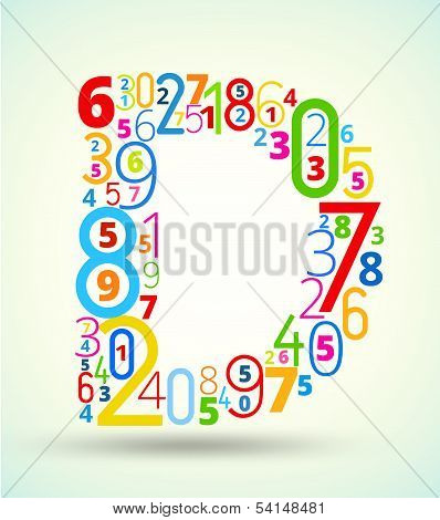 Letter D, colored vector font from numbers