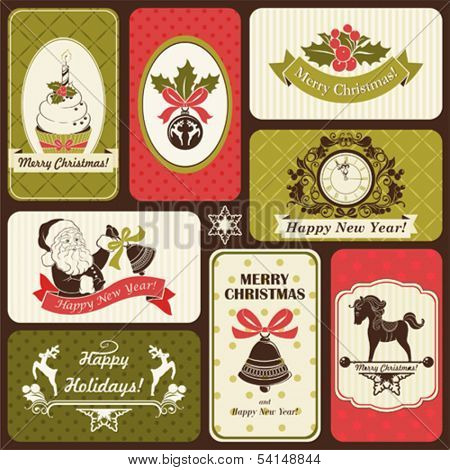 Retro set of labels by Christmas and New Year, vector illustration with holiday symbols.