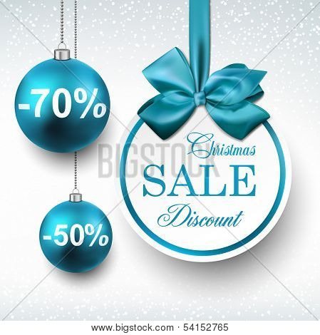 Holiday blue paper round labels. Christmas sale balls. Vector illustration.