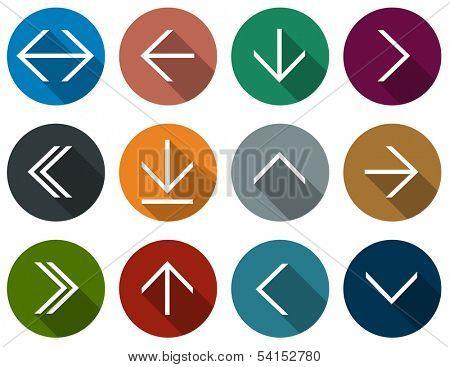 Vector illustration of plain round arrow icons. Flat design.