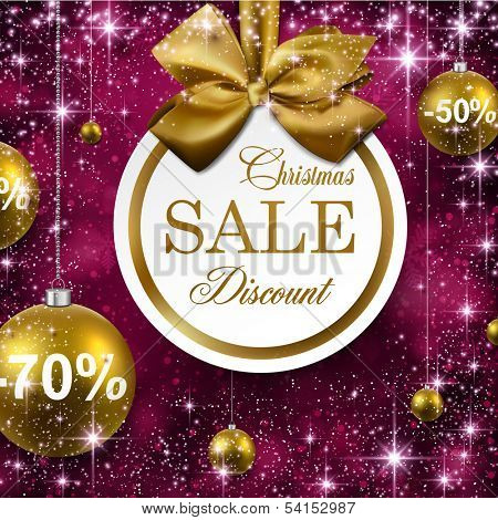 Paper sale golden christmas balls over purple winter abstract background. Vector illustration with snowflakes and sparkles.
