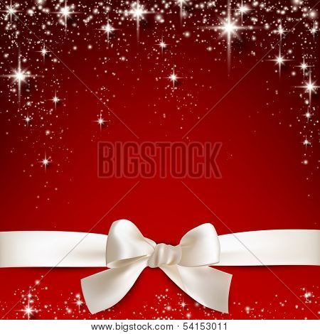 Gift white ribbon with bow over red starry christmas background. Vector illustration.
