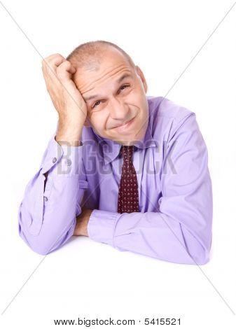 Thinking Businessman Isolated On White