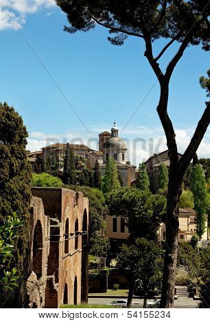 Ancient Basilica Church Santi Giovanni E Paolo, Roma, Italy