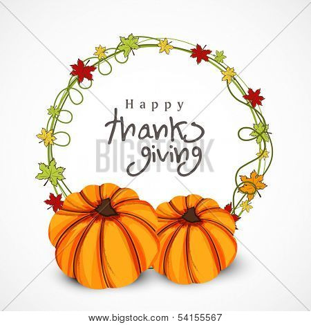 Happy Thanksgiving Day concept with pumpkin and autumn leafs on grey background.