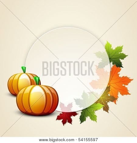 Happy Thanksgiving Day celebration concept with pumpkin, autumn leaves decorated and space for your message on grey background, can be use as flyer, banner or poster.