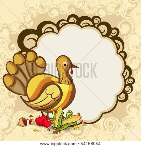 Happy Thanksgiving Day concept with turkey bird, fruits, vegetables and blank space for your message.