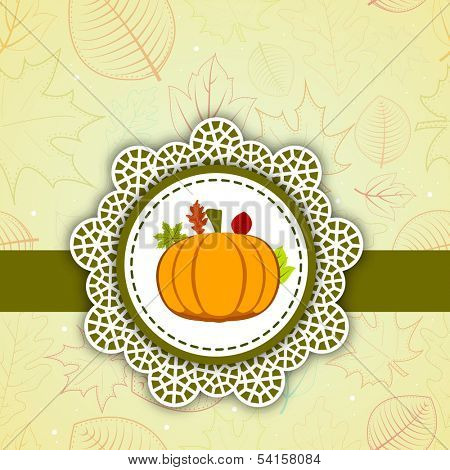 Happy Thanksgiving Day celebration with pumpkin on floral decorated background, can be use as flyer, banner or poster.