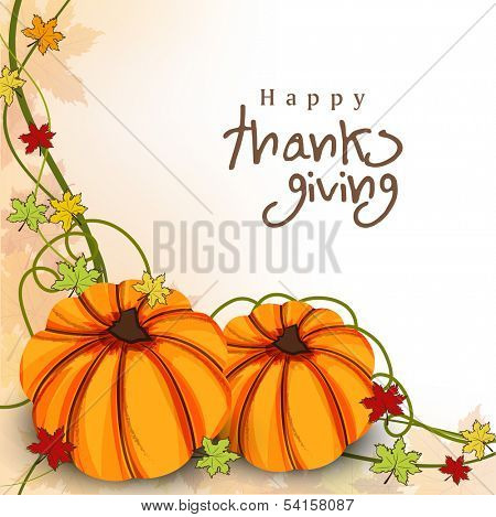 Happy Thanksgiving Day concept with pumpkin on autumn leaves background, can be use as flyer, banner or poster.