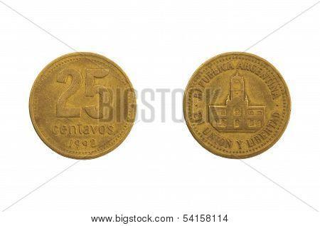 Argentinian 25 Peso Centavos Coin