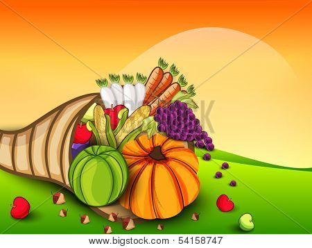 Happy Thanksgiving Day concept with fruits and vegetables on nature background, can be use as flyer, banner or poster.