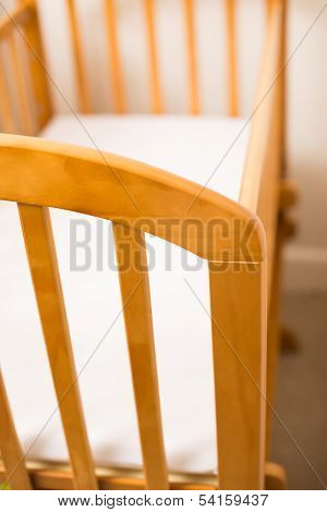 Close Up Of A Wooden Cot Frame