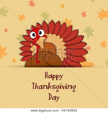 Happy Thanksgiving Day background with turkey bird on seamless autumn leaves background, can be use as flyer, banner or poster.