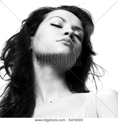 Young Magnificent Lady Isolated On White Background