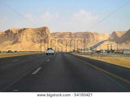 Road trough the desert Riyadh-Makkah (Mecca) highway in Saudi Arabia
