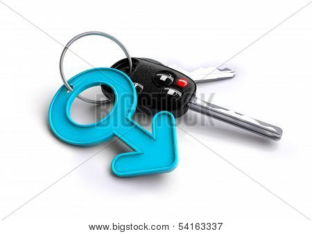 Car keys with a male symbol as a keyring
