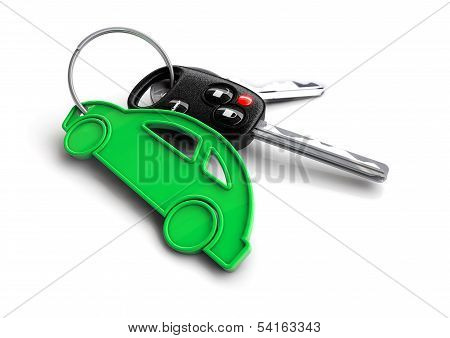 Car keys with icon key ring