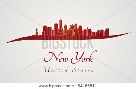 New York Skyline In Red