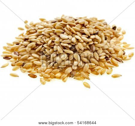Flax seeds, Linseed, Lin seeds close-up  isolated on white background