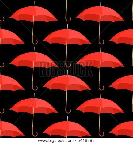 Semless A Background From Red Umbrellas. Vector Illustration