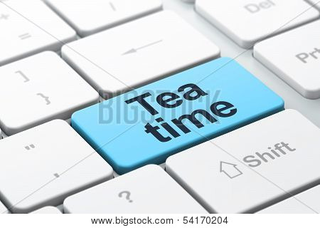 Time concept: Tea Time on computer keyboard background