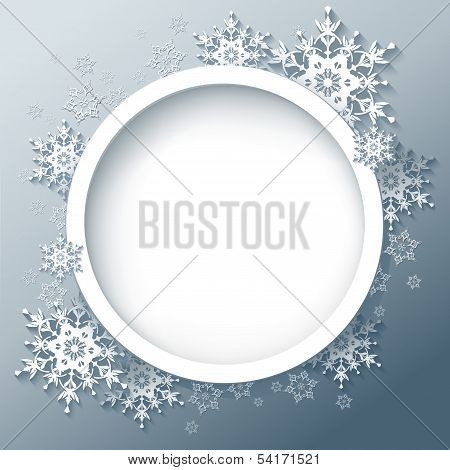 Winter Abstract Background With 3D Snowflakes