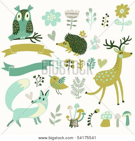 Russian forest set in vector. Deer, hedgehog, owl, bird and fox in cartoon style. Ribbons with place for your text.