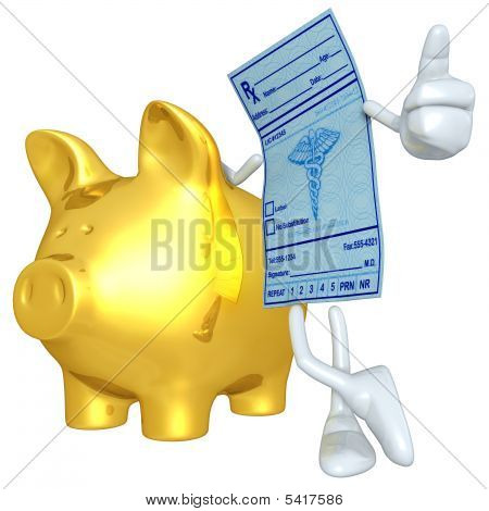 Medical Prescription With Gold Piggy Bank