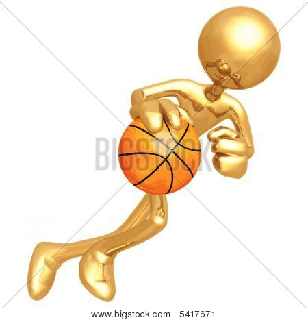 3D Vector Gold Guy Basketball