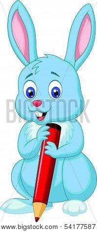 Cute rabbit cartoon holding red pencil