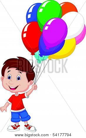 Cartoon boy with bunch of colorful balloons in his hand