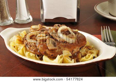 Salisbury Steak On Noodles